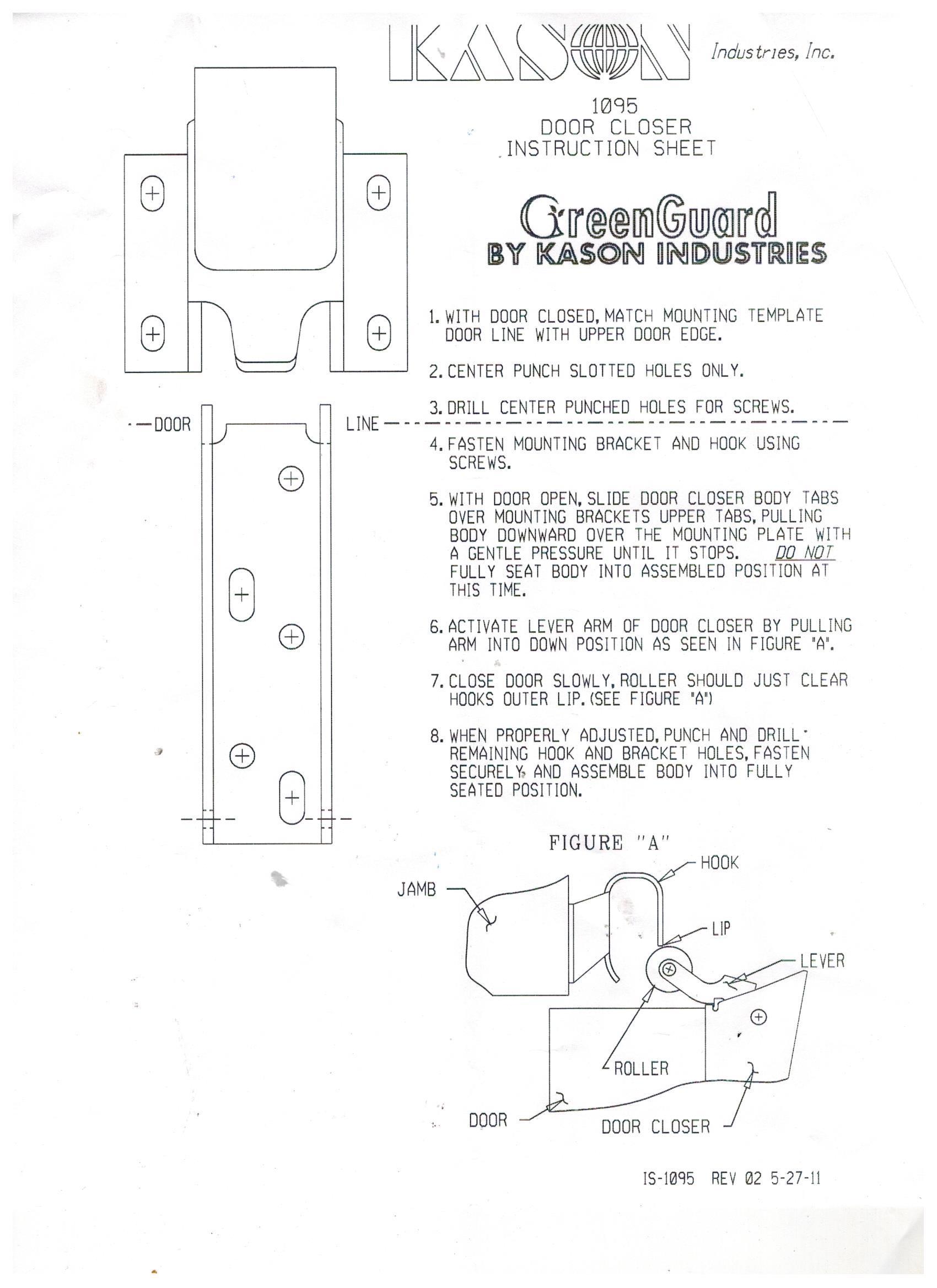 Kason 1095 Spring Action Door Closer Coldroom Parts